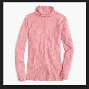 J. Crew Tissue Turtleneck T-Shirt Marled Pink XXS